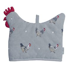 Tea Cosy - Chicken Shaped. dd some style to a tea or breakfast setting and keep your brew nice and warm with this quirky Chicken shaped Tea Cosy. Some Speckled Maran hens cover the sage grey fabric with a few white eggs dotted around. Bound to appeal to any hen keeper or anyone who collects our Chicken range. Perfect for a country kitchen!