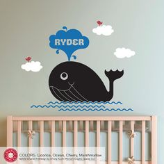 Whale Wall Decal Kids Personalized Name Nautical by graphicspaces, $50.00