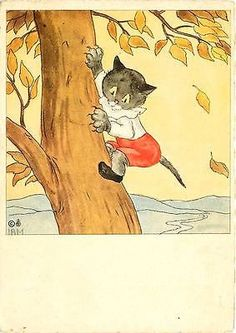 I A M Artist Signed Cat Climbing Tree Collectible Antique Vintage Postcard