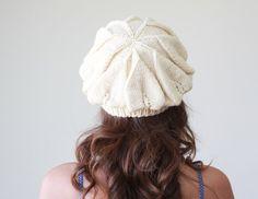 Women slouch knit hat slightly slouchy beret cream by SENNURSASA, $25.00