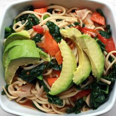 Kamut Udon Noodles With Kale and Avocado Oil: This recipe for kamut udon noodles with kale and avocado oil is a simple medley of noodles, sautéed vegetables, fresh lime juice, avocado oil, and tamari.  Source: Flickr user SweetOnVeg
