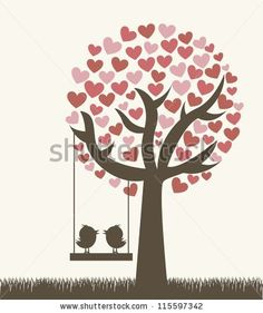 stock vector : love tree with two birds, vintage style. vector illustration