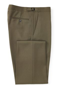 Our Cavalry Twill trousers are inspired by a formal, military style as exemplified by both the flat-fronted cut and their dark olive shade.  Finished with traditional Savile Row buckled side adjusters, this piece sports two slant front pockets and two back pockets that button for security.  Made from the finest quality 14oz Yorkshire-woven twill, these trousers are versatile and can be worn with tweed jackets and country shoes or a shirt and jumper for more casual occasions.  They are ...