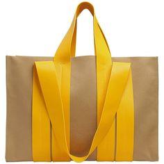 Corto Moltedo Women Costanza Beach Club Cotton Canvas Tote (9 100 ZAR) ❤ liked on Polyvore featuring bags, handbags, tote bags, yellow purse, beach handbags, yellow tote handbag, beach tote bags and yellow handbags