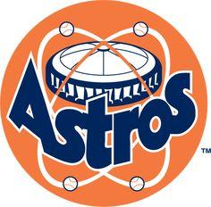 MLB Houston Astros Primary Logo (1975) - Astrodome above Astros blue script on orange