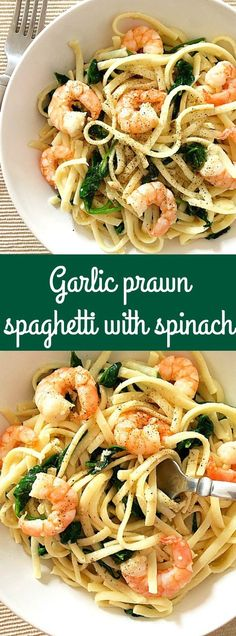 Garlic prawn/shrimp spaghetti with spinach, a quick dinner recipe that is ready in well under 30 minutes. Flavourful, filling and so garlicky.