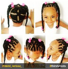 20 Cute Natural Hairstyles for Little Girls From pony puffs to decked out cornrow designs to braided styles, natural hairstyles for little girls can be the cutest added bonus to their precious little faces. Side Ponytail Hairstyles, Lil Girl Hairstyles, Natural Hairstyles For Kids, Princess Hairstyles, Braided Ponytail, Natural Hair Styles, Toddler Hairstyles, Dread Hairstyles, Little Girl Braids