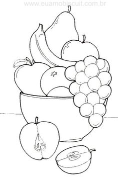 fruit basket coloring pages Art Drawings For Kids, Pencil Art Drawings, Art Drawings Sketches, Drawing For Kids, Easy Drawings, Colorful Drawings, Fruit Coloring Pages, Coloring Book Pages, Coloring Pages For Kids