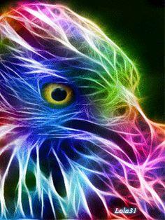 Colorful neon eagle