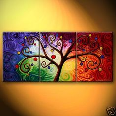 Abstract Art Painting, 3 Piece Canvas Art, Tree of Life Painting, Canvas Painting, Large Group Painting Oil Painting Trees, Tree Of Life Painting, Hand Painting Art, Oil Painting On Canvas, Tree Paintings, Painting Videos, Large Painting, Multi Canvas Art, 3 Piece Canvas Art