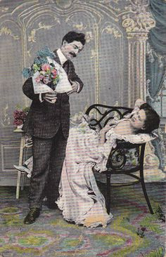 """This is an original vintage postcard from 1908. """"'I am afraid of that girl,' said a young man who desired to live purely. 'May be she does not mean it, but her poses and glances make it almost impossible for me to keep my hands off of her. I am obliged to leave her for fear that I shall kiss her when she looks so mischievously alluring.'"""" From What a Young Girl Ought to Know,"""" 1905."""
