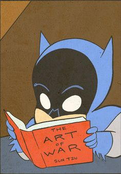 "Batman reads ""The Art of War,"" by Yale Stewart come on how cool is this"