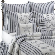 Seaside Stripe Quilt, 100% Cotton - Bed Bath & Beyond. Cute as accent pillows with dark blue as the main color