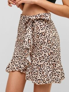 344839f3e3 [37% OFF] [HOT] 2019 Floral Ruffles Knotted Mini Skirt In APRICOT. ZAFUL