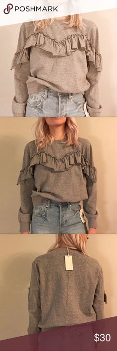 Gray Long Sleeve Ruffle Top Grey Long Sleeved Ruffle Top. I have multiple sizes (listed below). Brand is Mello Day. Very comfy! tags: boho, urban outfitters, free people, forever 21, nordstrom Nordstrom Tops