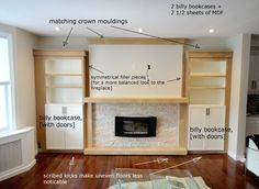 Built in ikea hack - Studio Kosnik  (do this in basement for art supplies and toys and to cover brick fireplace