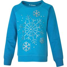 Youth Stylish Long Sleeve Crew Neck Cotton Blue Snowflakes Top for Youth