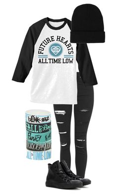 """missing you//all time low"" by bands-are-my-savior ❤ liked on Polyvore featuring Topshop, Converse, Blink, women's clothing, women, female, woman, misses and juniors"