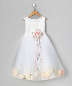 Look at this #zulilyfind! White & Pink Petal Silk Dress - Infant, Toddler & Girls #zulilyfinds