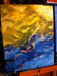 Acrylic and photo of windsurfer for my friend Torsten.