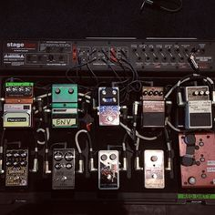 Check out these shots of Ace from Skunk Anansie's new pedal boards... . . . #ace #skunkanansie #digitech #pedal #pedalfx #pedalboard #pedalboards #delay #fuzz #chorus #pitch #boneshaker #dod #lookingglass #nautila #music #live #gig #perform #guitar #guitarist