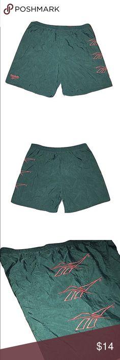 90s Reebok Swim Trunks 90s Reebok Swim Trunks In Green  Brand: Reebok Size: Mens Large/ Women's X-Large Condition: 9.5/10  Comments: Reebok Logo x3 Going Down The Thigh Reebok Swim Swim Trunks