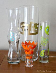 DIY Painted Vase Using Elmer's Painters Paint Markers - DIY on the Cheap