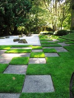Checkered lawn with Japanese Zen garden...beautiful