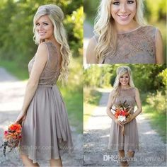511598a508d 2016 New Beach Knee Length Bridesmaid Dresses Chiffon Lace Crew Neck  Western Country Summer Cheap Plus Size Formal Party Prom Dresses Grey