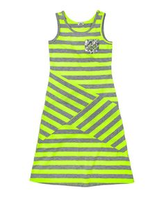 Take a look at this Neon Yellow Stripe Sequin Dress - Girls by RUUM on #zulily today!