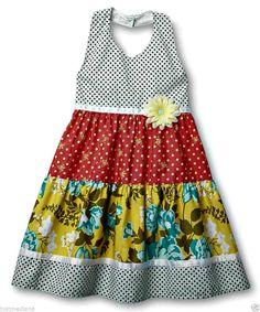 Blueberi Boulevard Girl's Tiered Halter Sundress Floral Polka Dot & Daisy - Sz 5