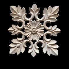 Rubber Wood Carved Floral Decal Craft Onlay Applique Furniture DIY Decor New Thermocol Craft, Cement Design, Wood Design, Molduras Vintage, Bedroom False Ceiling Design, Small Figurines, Wood Carving Designs, Chip Carving, Corner Wall