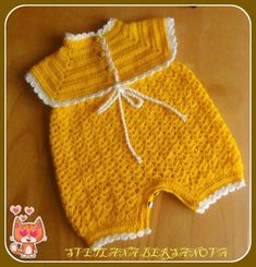 Discover thousands of images about Crochet infant romper m Crochet Bebe, Crochet For Kids, Knit Crochet, Baby Dress Patterns, Crochet Doll Clothes, Baby Cardigan, Crochet Videos, Baby Sweaters, Beautiful Crochet