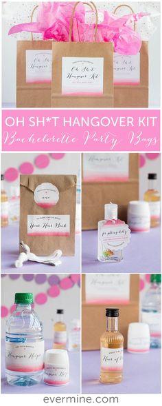 Bachelorette Party Favor Ideas | Oh Sh*t Hangover Kits | Evermine Weddings | evermine.com