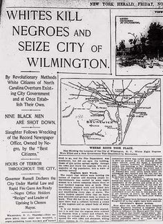 PRESS THE VISIT BUTTON November 10, 1898 - Two days after the local elections in Wilmington, NC, the democratically elected and biracial government was overthrown by Democratic Party White Supremacists. Over 1,500 white men participated in an attack on the black newspaper, burning down the building. They ran officials and community leaders out of the city, and killed many blacks