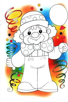 CARNAVAL Clown Crafts, Circus Crafts, Adult Coloring, Coloring Pages, Theme Carnaval, Cool Easy Drawings, Art For Kids, Crafts For Kids, Clown Party