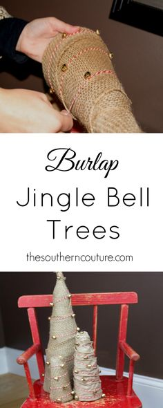 Decorate for Christmas with a little touch of rustic and silver at the same time with these burlap jingle bell trees from thesoutherncouture.com. The candy cane striped bakers twine just makes it complete.