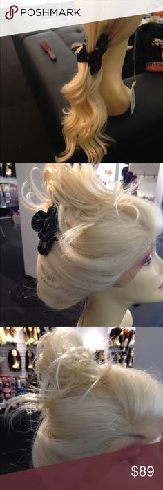 Platinum Blonde New Swisslace Fulllcap no wefts Beautiful platinum Swisslace wig human hair mix with the finest quality fibers you can curl heat resistant adjustable caps wig long 24 inch straight  with waves you can wear this up or down as pictured in photos Accessories Hair Accessories
