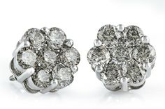 This matches my engagement ring and necklace... Must have!!  5.10ct Diamonds White Gold Flower Earrings