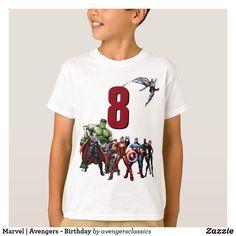 Avengers T-Shirts - Avengers T-Shirt Designs The Avengers, Avengers Shirt, Iron Man Kids, Spiderman, Avengers Birthday, Classic Comics, Vintage Cartoon, Party Shirts, Birthday Shirts