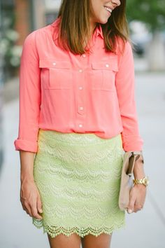 Outfit Post: All of the Brights * neon lace skirt