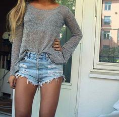 denim short casual look