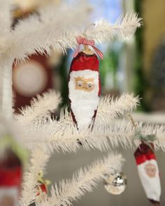 Chile Pepper Santa Ornaments - Turn chile peppers into a jolly ornaments using apricot, white, and red acrylic paint.