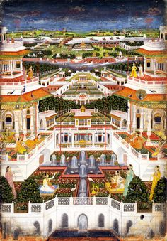 """ A Palace Complex with Harem Gardens. India, Lucknow or Faizabad, c. The miniature, whose primary motif is a fantastic palace complex populated by a prince's concubines along with. Mughal Miniature Paintings, Mughal Paintings, Indian Paintings, Rajasthani Painting, Rajasthani Art, Pichwai Paintings, Wooden Jigsaw Puzzles, Mughal Empire, Virtual Museum"