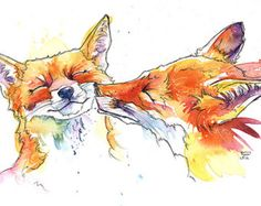 This listing is for 1 of these exclusive greetings card printed from my original Smoochy Foxes watercolour. Printing Quality: These are high-image-quality prints on a textured, luxury card that has a fine, dimpled, 'hammered' effect across its surface. Gesso 300gsm card. They are 10cm x 15cm, with a high quality, textured, white envelope and individually cellophane wrapped. The inside is left blank so you can write your own personal message. Order more than 1 card and pay no extra for shi...