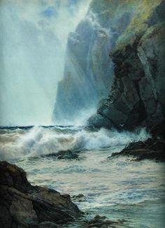 "Arthur Reginald Smith (1872-1934) ~ ""Cornish Cliffs"" ~ Watercolor"
