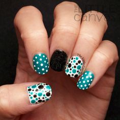 The Little Canvas: Twinsie Tuesday: Teal Nails for Ovarian Cancer Awareness. Salon Perfect: ☆ Gone Sailing ☆ and Zoya: ☆ Storm ☆ dots #dotticure nail art