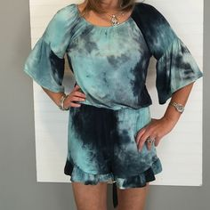 NEW NWT Adorable Romper NWT Romper - Great tie dye with Ruffles at legs and at 3/4 length sleeve- elastic at waist - 95% rayon and 5% spandex - PRICE IS FIRM UNLESS BUNDLED Vision Shorts