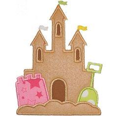 Sand Castle 2 Applique - Planet Applique Inc Applique Patterns, Applique Designs, Embroidery Applique, Quilt Patterns, Machine Embroidery, Embroidery Designs, Beach Quilt, Fox Face, Toddler Quilt