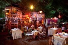 This is a travelling pop-up restaurant made out of scraps.The Pale Blue Door. Berlin